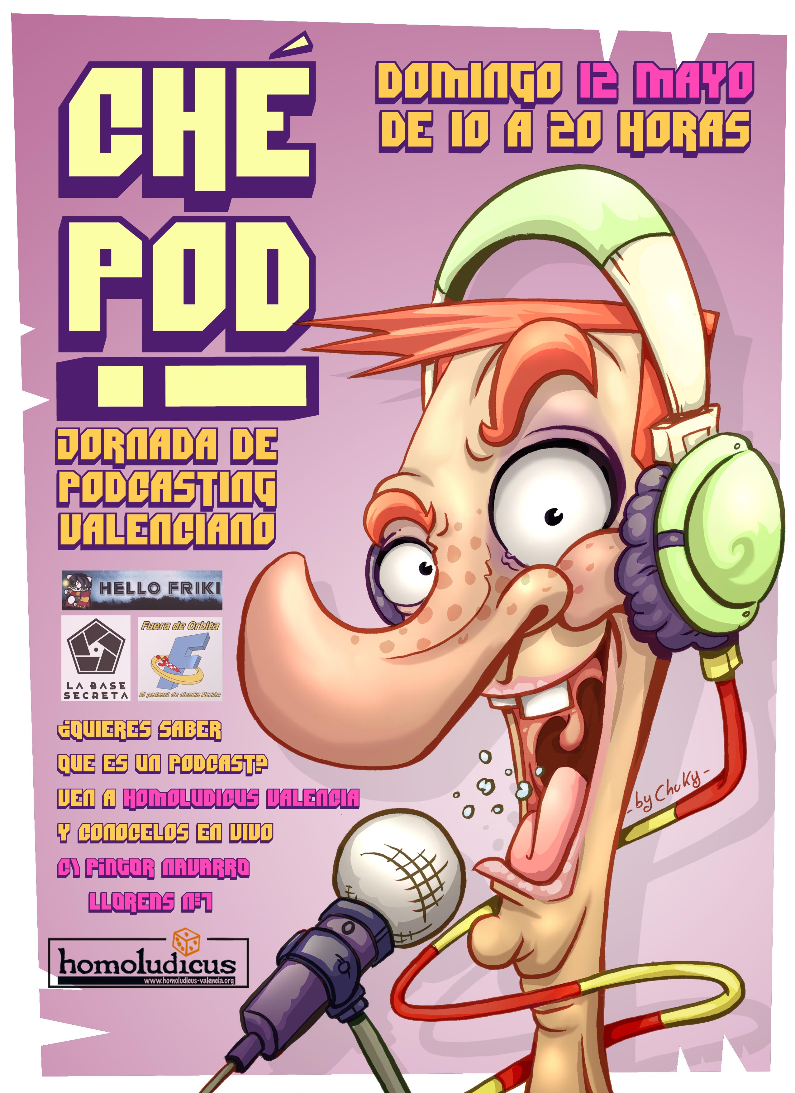 Póster oficial de la primera jornada de podcasting valenciano ó Ché-Pod.
